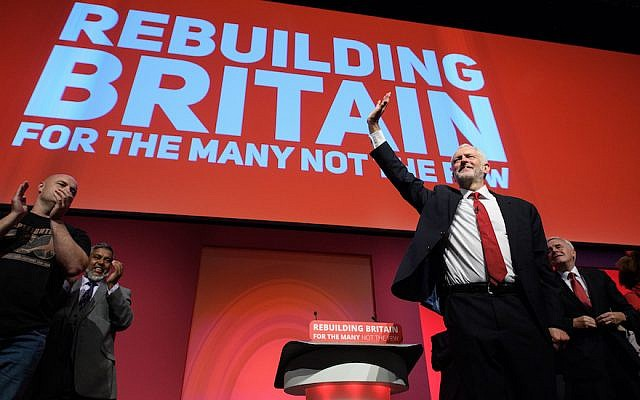 Jeremy Corbyn addresses the Labour Party conference at the Arena and Convention Centre in Liverpool, England, Sept. 26, 2018 in Liverpool, England. (JTA)