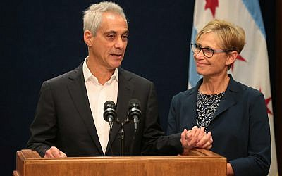 Chicago Mayor Rahm Emanuel, with wife Amy, announces that he will not seek a third term at a City Hall news conference, Sept. 4, 2018. JTA