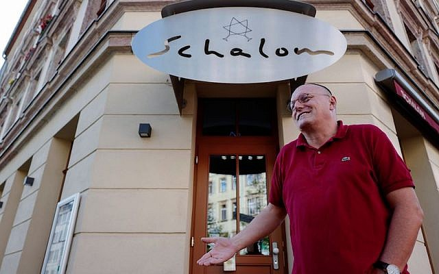 Uwe Dziuballa, owner of the Schalom Jewish restaurant in Chemnitz, eastern Germany, describing to a journalist on Sept. 8, 2018 how his restaurant was attacked by a group of masked men on Aug. 27, 2018. JTA
