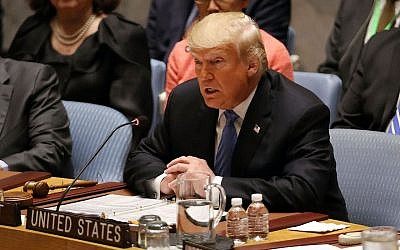 President Donald Trump chairs a United Nations Security Council meeting in New York City, Sept. 26, 2018. (JTA)