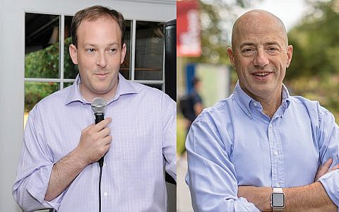 """Rep. Lee Zeldin, left, has called on former Trump aides Steve Bannon and Sebastian Gorka in his campaign, while challenger Perry Gershon says Zeldin should """"remember his roots and not support white nationalism."""" GERSHON: J Street Pac / ZELDIN: JTA"""