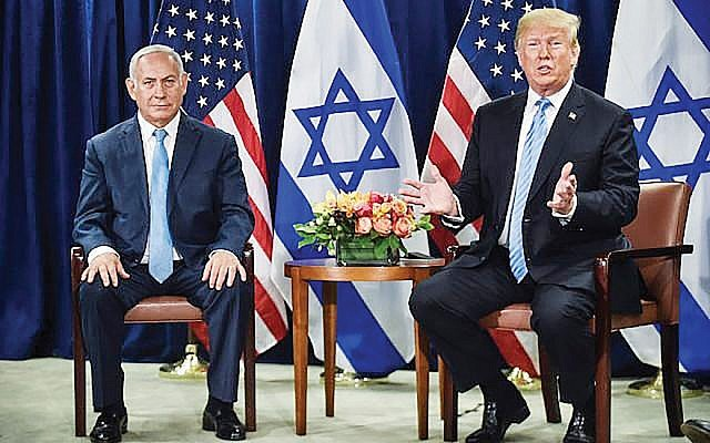 During a meeting with Prime Minister Netanyahu on the sidelines of the U.N. General Assembly, President Trump backed the two-state solution. Getty Images