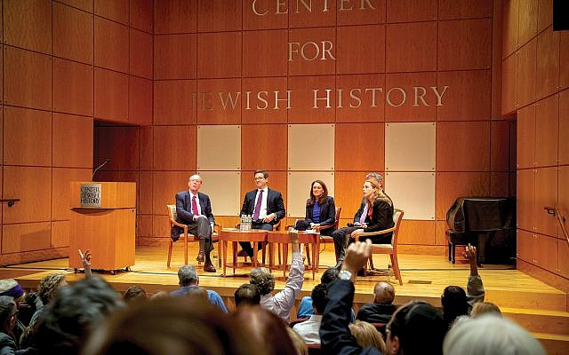 Clyde Haberman, Julian Zelizer, Hailie Soifer, Jeff Jacoby (obscured) and Rabbi Jill Jacobs discuss the Jewish vote and the president's rhetoric. Courtesy of Gemma Solomons/ Center for Jewish History