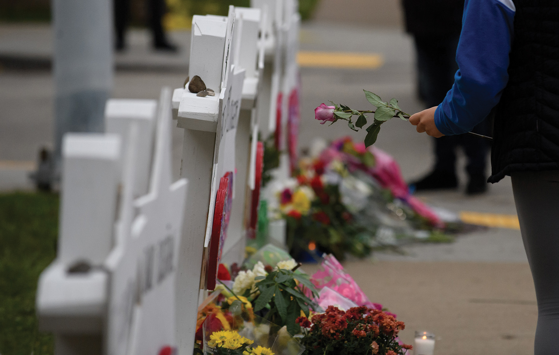 A makeshift memorial near Tree of Life Synagogue in Pittsburgh shortly after the attack. Getty Images