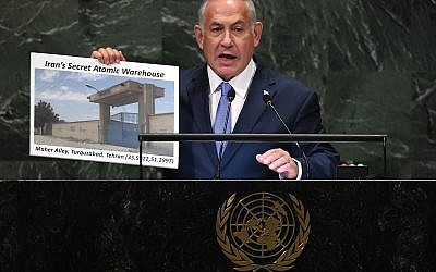 Israeli Prime Minister Benjamin Netanyahu addressing the United Nations General Assembly last week in New York. Getty Images