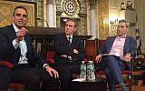 Tal Keinan, left, Bret Stephens and Rabbi Elliott Cosgrove at last week's Jewish Week forum at Park Avenue Synagogue. Photo by Stuart Himmelfarb