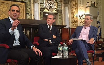 Tal Keinan, left, Bret Stephens and Rabbi Elliott Cosgrove at last week's Jewish Week forum at Park Avenue Synagogue. Photo by Stuart Himmelfarb
