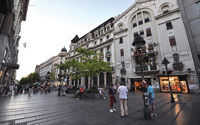 A pedestrian plaza along Knez Mihailova in downtown Belgrade.  Wikimedia Commons