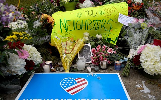 Flowers and cards sit at a makeshift memorial down the street from the Tree Of Life Synagogue in Pittsburgh, Pennsylvania. Jeff Swensen/Getty Images