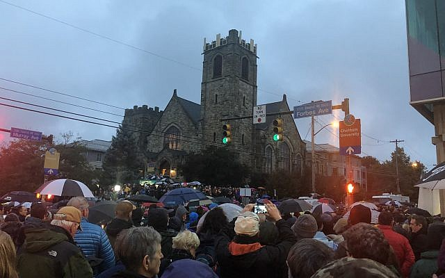 At a vigil ceremony in Pittsburgh on Saturday night, October 27, 2018. Courtesy of Jim Busis
