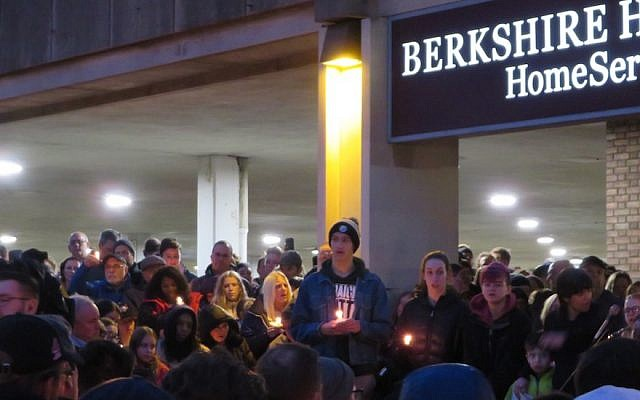 A havdalah vigil organized by high school students after the shooting drew thousands of people, Oct. 27, 2018. JTA