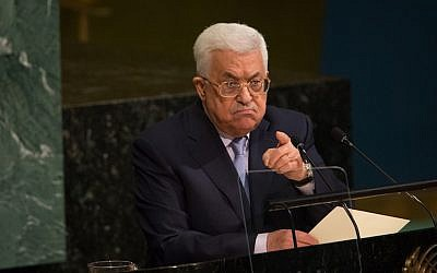 Palestinian Authority President Mahmoud Abbas speaks at the U.N. General Assembly in New York, Sept. 20, 2017. (JTA)