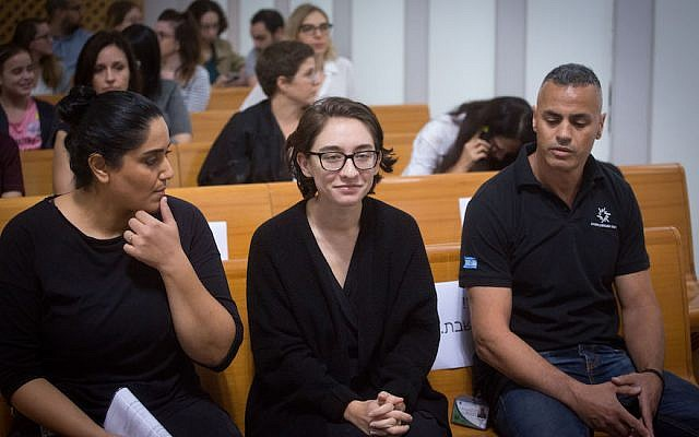 Lara Alqasem at the Israeli Supreme Court in Jerusalem, Oct. 17, 2018. (JTA)