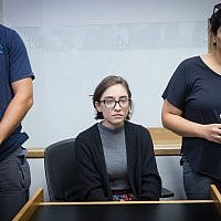 Lara Alqasem, a 22-year-old American graduate student, arrives at a Tel Aviv District court, Oct. 11, 2018. She is being held in detention at Israel's international airport since last week over allegations that she promotes a boycott against the Jewish state. (JTA)