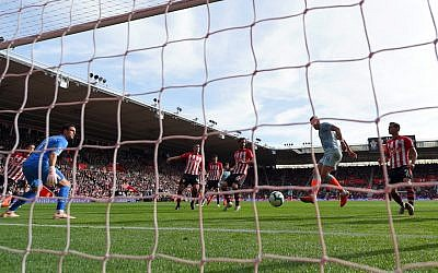 A scene from a match between Southampton FC and Chelsea FC at St Mary's Stadium in Southampton, England, Oct. 7, 2018. (JTA)