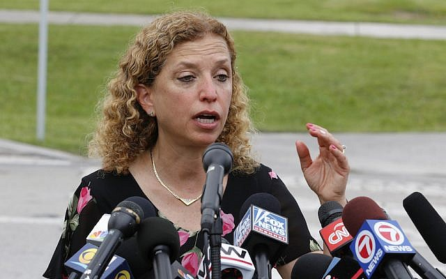 Rep. Debbie Wasserman Schultz speaks after she was denied access to the Homestead Temporary Shelter For Unaccompanied Children in Homestead, Fla., June 19, 2018. A series of high-profile scandals has made her a favorite target for the right. (Joe Skipper/Getty Images)