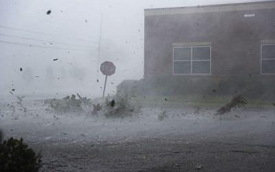 Hurricane Michael hits land in Panama City, Fla., Oct. 10, 2018. (JTA)