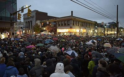 Members of the Squirrel Hill community in Pittsburgh come together for a student-organized candle vigil in remembrance of those who died earlier in the day during a shooting at the Tree of Life Synagogue, Oct. 27, 2018. JTA