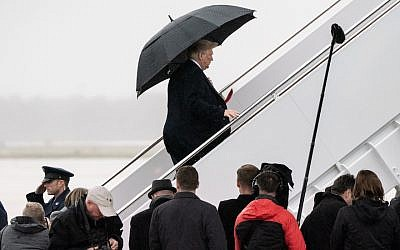 President Donald Trump boards Air Force One at Andrews Air Force Base in Maryland after speaking to reporters about the fatal shooting at the Tree of Life Synagogue in Pittsburgh, Oct. 27, 2018. JTA