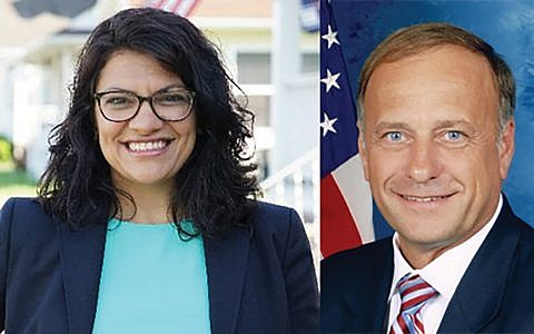 Democratic Rep. Rashida Tlaib and Republican Rep. Steve King seen byt some at the fringes of their parties. Wikimedia Commons Twitter