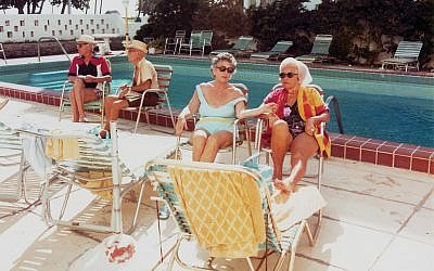 """Scenes from """"The Last Resort,"""" about Miami Beach's Jewish heyday.  Pool credit: Andy Sweet Bench credit: Gary Monroe"""