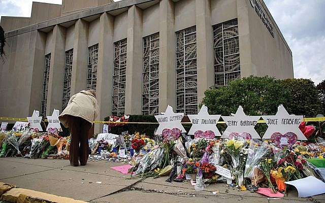 A memorial outside the Tree of Life Congregation in Pittsburgh, site of the October shooting rampage that killed 11 worshippers. Getty Images