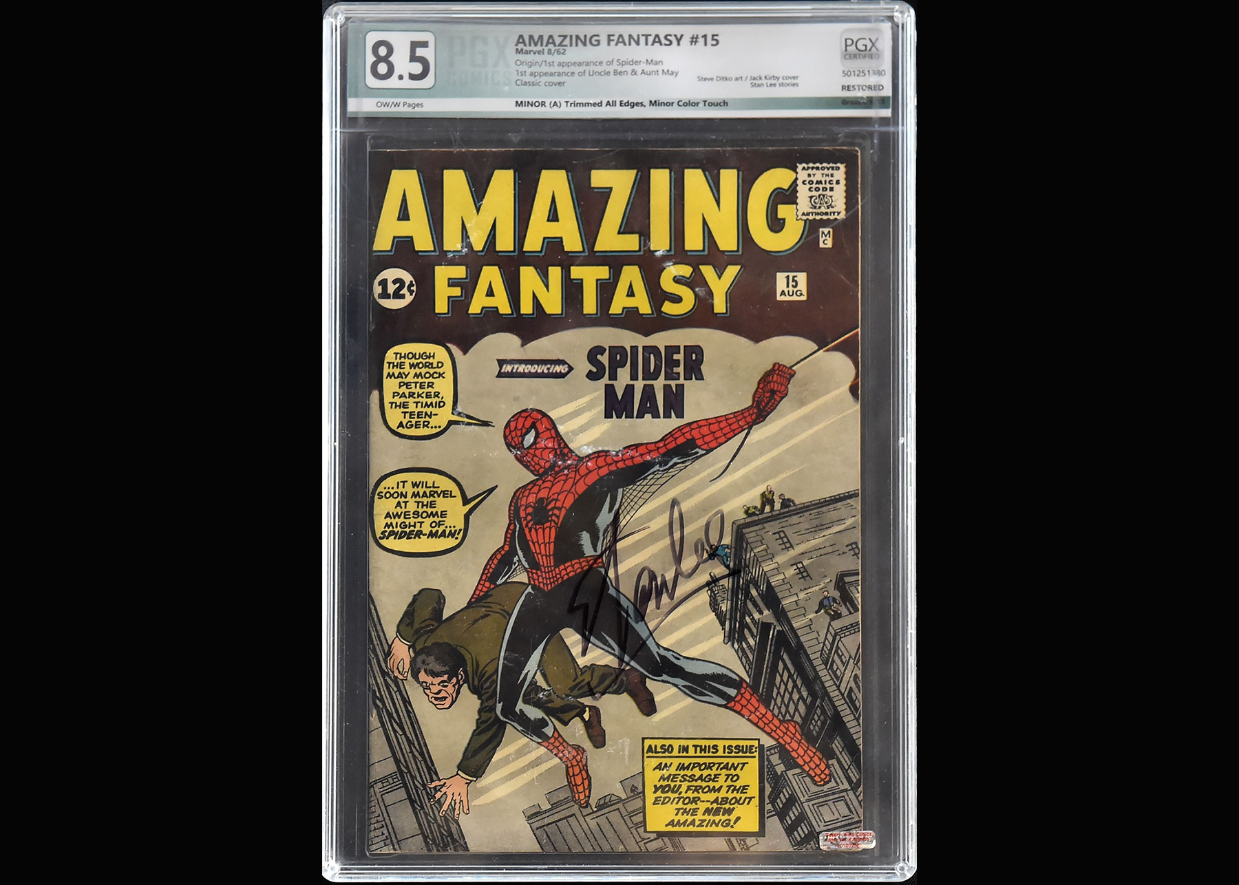 """A Stan Lee-signed copy of """"Amazing Fantasy #15, displayed last week at Julien's Auction House in Beverly Hills. It marked the first appearance of Lee's superhero Spider-Man. Getty Images"""