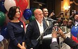 Max Rose, with his wife, at left, at his election-night party. Courtesy of Max Rose for Congress