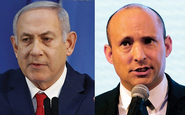 After demanding from Benjamin Netanyahu, left, that he be given the defense minister post, Education Minister Naftali Bennett walked away without a single concession from a savvy prime minister. Photos by Getty Images