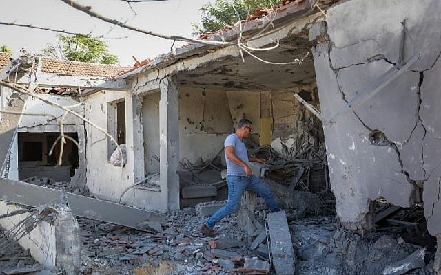 A home in the southern Israeli city of Ashkelon was destroyed by a rocket fired from Gaza on Nov. 13, 2018. JTA