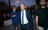 Israeli Education Minister Naftali Bennett, shown at an education conference in Ramat Gan, Israel, Nov. 15, 2018, has threatened to remove his party from the country's governing coalition. (Miriam Alster/Flash90)