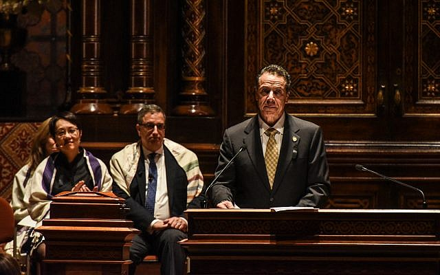 New York Governor Andrew Cuomo speaks at the vigil held at the Central Synagogue. Getty Images.