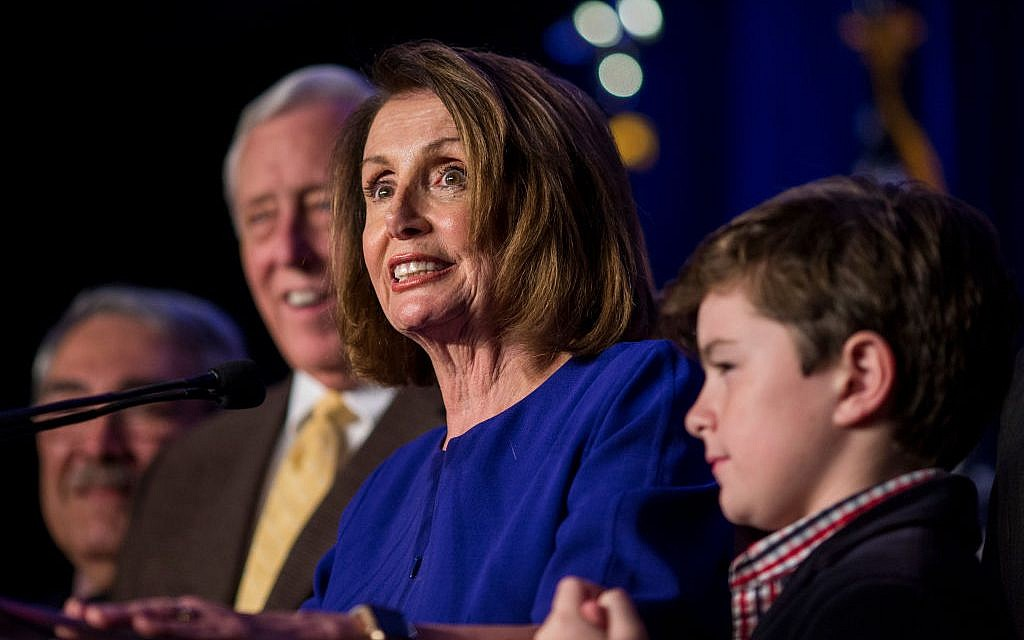 WASHINGTON, DC - NOVEMBER 06: House Minority Leader Nancy Pelosi (D-CA), joined by House Democrats, delivers remarks during a DCCC election watch party at the Hyatt Regency on November 6, 2018 in Washington, DC. Getty Images
