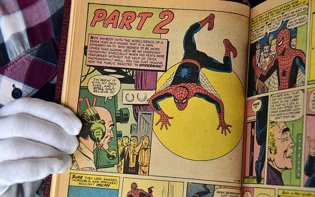 "A custom bound one-of-a-kind hardcover book that includes the first 10 issues of The Amazing Spider-Man, ""Strange Tales Annual #2"", and ""Amazing Fantasy #15"" (1962-1964) comics, part of a selection of 20 works associated with the late Stan Lee's comics universe, is displayed at Julien's Auctions in Beverly Hills, California, on November 13, 2018. Getty Images"