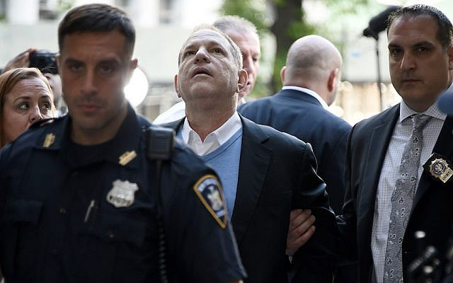 Harvey Weinstein arriving for his arraignment at a New York City courthouse in handcuffs, May 25, 2018. (JTA)