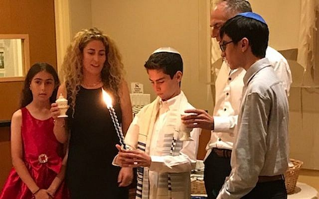 From left to right, Jessa, Josie, Jace, Jeff and Jett Kletter, during Jace's bar mitzvah at Kehillat Israel, a Reconstructionist synagogue in Pacific Palisades, Nov. 10, 2018. JTA