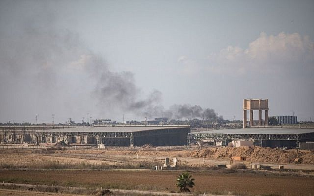 Smoke rises from Israel's border with the Gaza Strip, near the southern Israeli town of Nahal Oz, on Nov. 12, 2018, after an incursion by Israeli special forces into the Gaza Strip, which left an Israeli army officer and 7 Palestinians, including a local Hamas commander, dead. (JTA)
