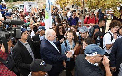 Teens from Gaza border communities meet Israeli President Reuven Rivlin in Jerusalem at the end of their 100-mile walk from Sderot in southern Israel. (JTA)