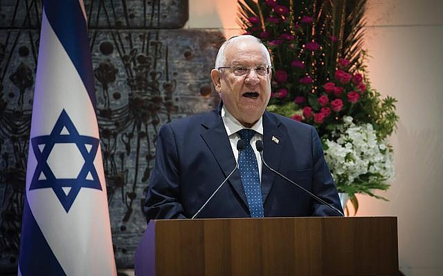 Israel President Reuven Rivlin, speaking last month at a Yitzhak Rabin memorial ceremony, wants Israelis to see the American Jewish community firsthand. Yonatan Sindel/Flash90
