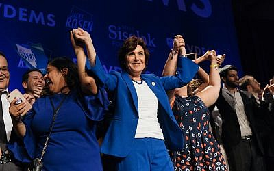 Jacky Rosen celebrates with supporters after winning a Senate seat in Nevada at Caesars Palace in Las Vegas, Nov. 6, 2018. JTA