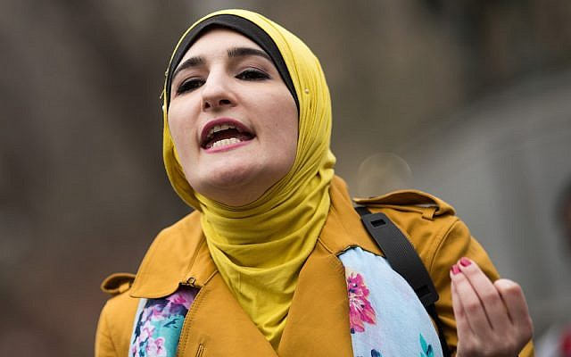 Activist Linda Sarsour speaks during a Women For Syria gathering in New York City, April 13, 2017. (JTA)
