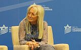 Miriam Adelson, a physician and a major funder of the Israeli American Council, sits on a panel at its annual Washington conference, Nov. 5, 2015. JTA
