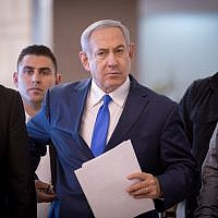Israeli Prime Minister Benjamin Netanyahu arrives at the Knesset in Jerusalem for a faction meeting, Nov. 19, 2018. (JTA)