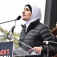 Linda Sarsour speaking at the Women's March in Washington, D.C, Jan. 21, 2017. JTA