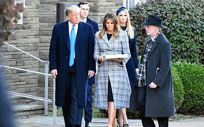 President Donald Trump and first lady Melania Trump visit Pittsburgh with Ivanka Trump and Jared Kushner three days after the shooting at the Tree of Life Synagogue there, Oct. 30, 2018. (JTA)
