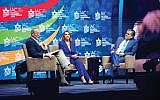 Sen. Chuck Schumer and Rep. Nancy Pelosi are interviewed by Israeli-American entertainment mogul Haim Saban at this week's conference.  Israeli-American Council