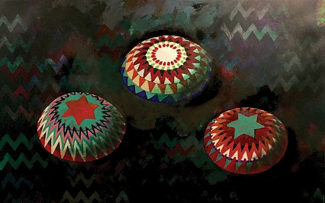 "Images from Yona Verwer's mixed-media work ""Echoes,"" colored kippot. YU Museum"