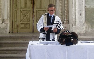 The author's youngest nephew at his bar mitzvah ceremony in August at the Samorin cultural center, only the second such ceremony in Slovakia since World War II. Courtesy of Helene Silverberg