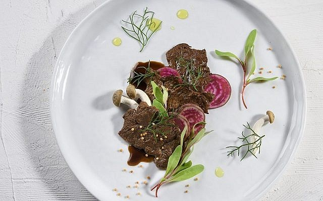 An illustration of the steak prototype produced in an Aleph Farms Ltd. lab out of cow cells (Courtesy) Via Times Of Israel