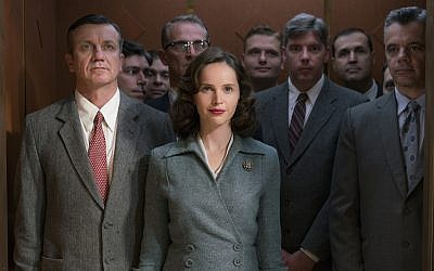 """Felicity Jones plays a young Ruth Bader Ginsburg in """"On the Basis of Sex."""" (Jonathan Wenk/Focus Features) Via JTA"""